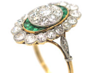 French Art Deco 18ct Gold & Platinum, Emerald & Diamond Ring with Central Diamond Cluster