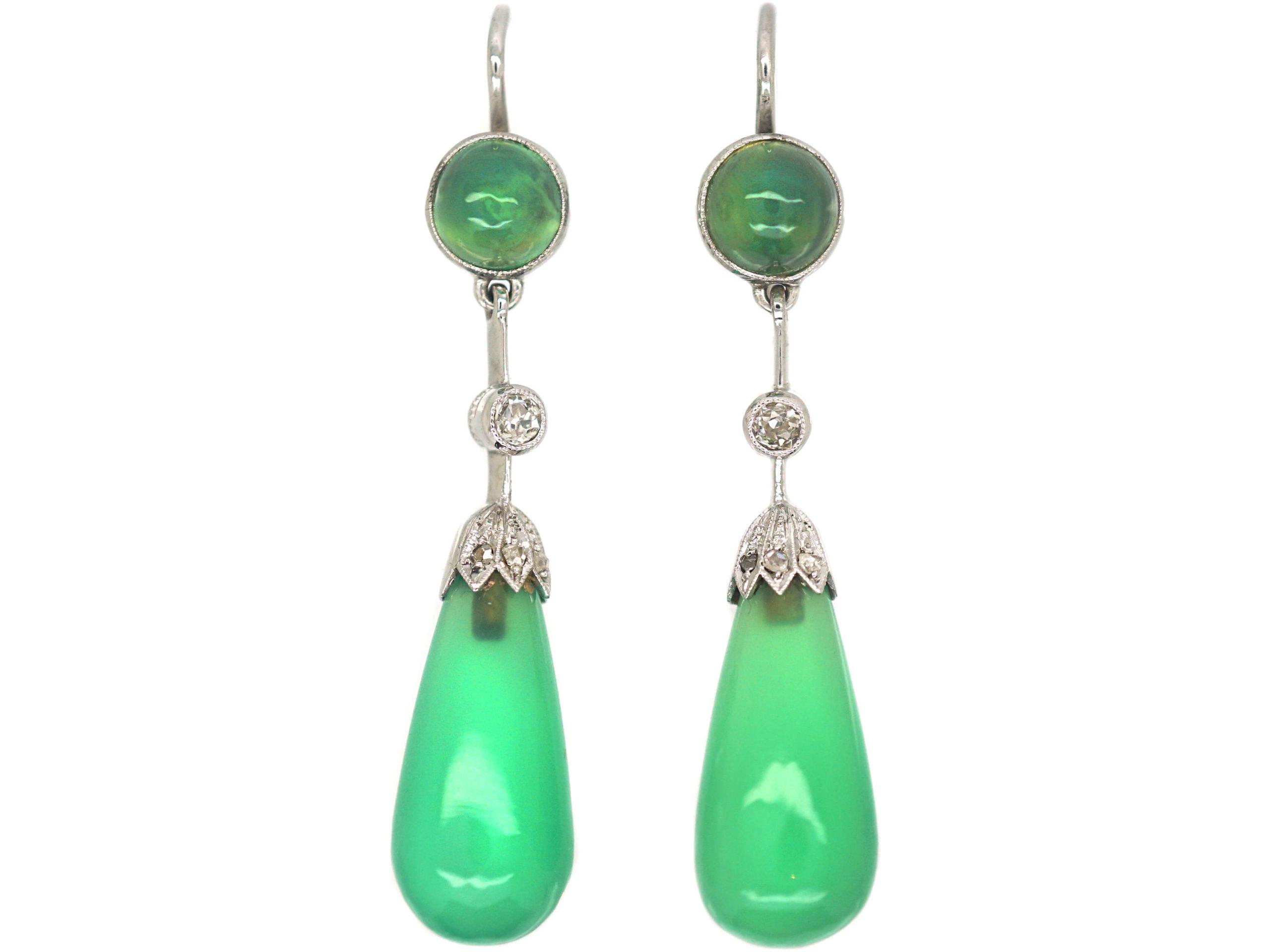 Edwardian Platinum, Chrysoprase & Diamond Drop Earrings