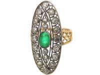 Art Deco Large 18ct Gold & Platinum, Emerald & Diamond Oval Shaped Ring