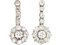Swedish Early 20th Century 18ct Gold & Platinum, Diamond  Drop Daisy Cluster Earrings
