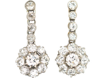 Swedish Early 20th Century 18ct Gold & Platinum, Diamond  Drop Daisy Cluster Earrings