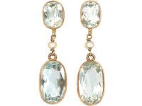 Edwardian Aquamarine & Natural Pearl Drop Earrings