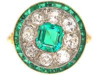 Art Deco 18ct Gold, Platinum, Emerald & Diamond Target Ring