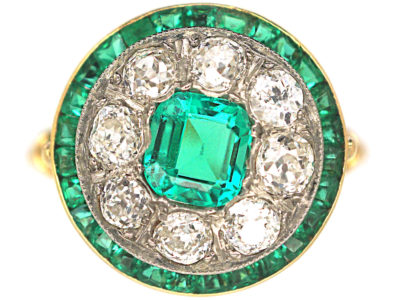 Art Deco 18ct Gold, Platinum, Emerald & Diamond Target Ring