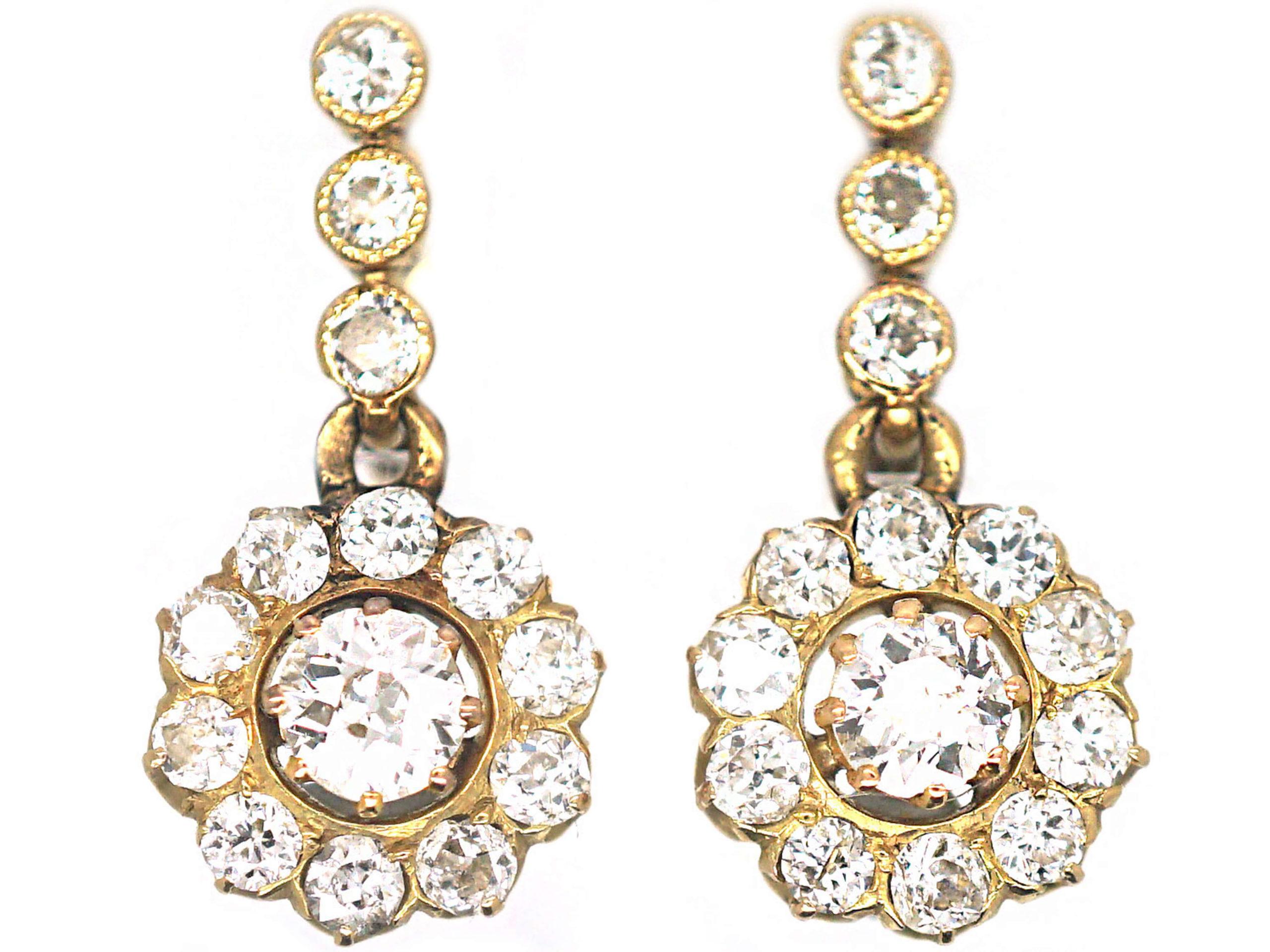 Belle Epoque 18ct Gold Diamond Cluster Drop Earrings