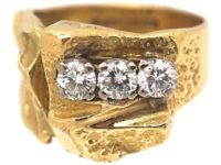 Modernist 18ct Gold Ring set with Three Diamonds by Bjorn Wekkstrom