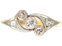 Edwardian 18ct Gold & Platinum, Three Stone Crossover Ring with Diamond Set Shoulders
