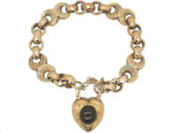 Victorian 9ct Gold Ornate Bracelet with Heart Shaped Padlock set with a Cabochon Garnet