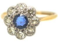 Edwardian 18ct Gold & Platinum Sapphire & Diamond Cluster Ring