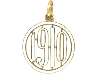 18ct Gold & White Enamel 1910 pendant by Cartier