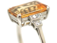Art Deco 18ct White Gold, Imperial Topaz & Diamond Ring