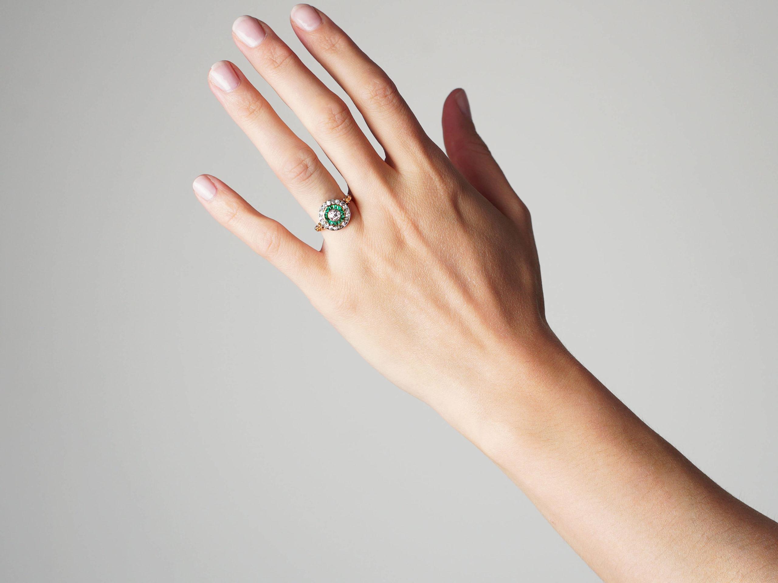 Art Deco 18ct Gold, Emerald & Diamond Target Ring