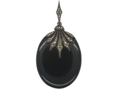 Victorian Onyx & Diamond Oval Pendant with Glazed Locket on Reverse