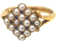 Edwardian 18ct Gold Pave Set Natural Split Pearls & Sapphires Diamond Shaped Ring