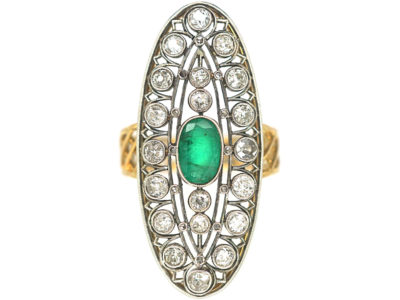 Art Deco Large 18ct Gold & Platinum, Emerald & Diamond Oval Shaped Ring