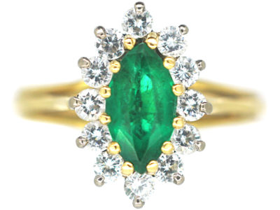 18t White & Yellow Gold Emerald & Diamond Marquise Ring
