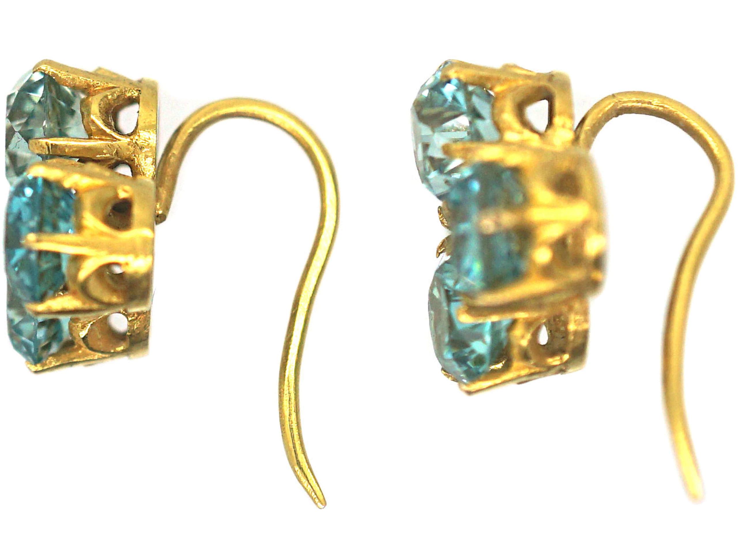 Art Deco 18ct Gold & Zircon Trefoil Design Earrings