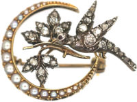 Edwardian Crescent & Dove Brooch set with Natural Split Pearls & Diamonds