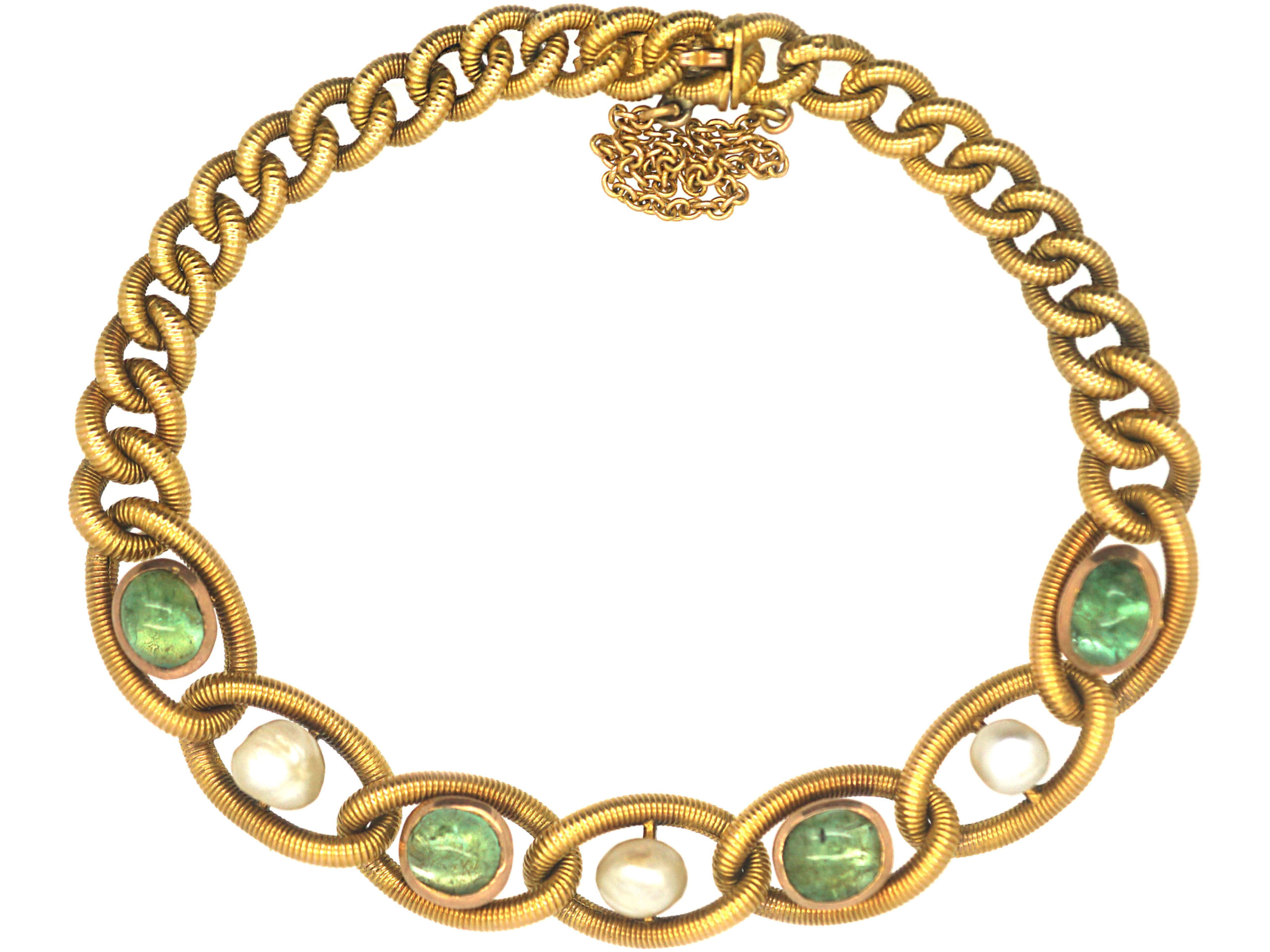 French 18ct Gold, Cabochon Emerald & Natural Pearl Bracelet