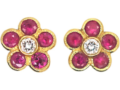 18ct Gold, Ruby & Diamond Small Cluster Earrings