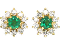 18ct Gold, Emerald & Diamond Cluster Earrings
