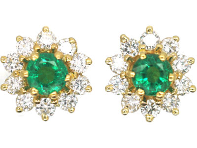 18ct Gold, Emerald & Diamond Cluster Earrings