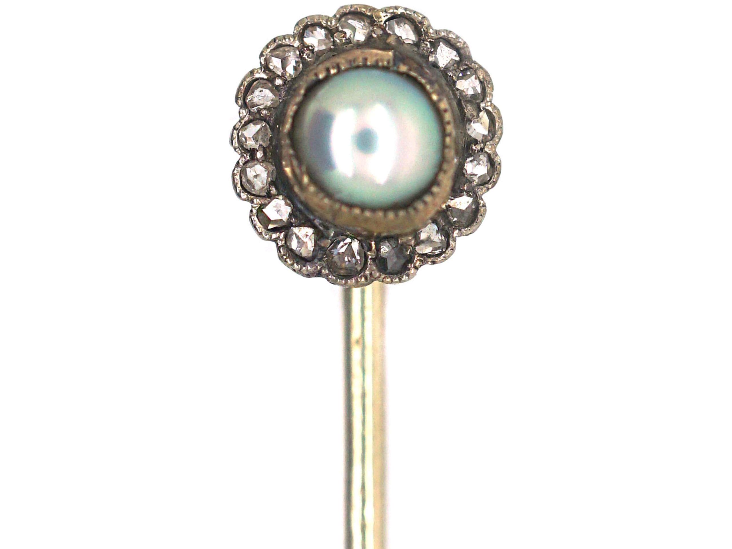 9ct Gold, Rose Diamond & Pearl Tie Pin