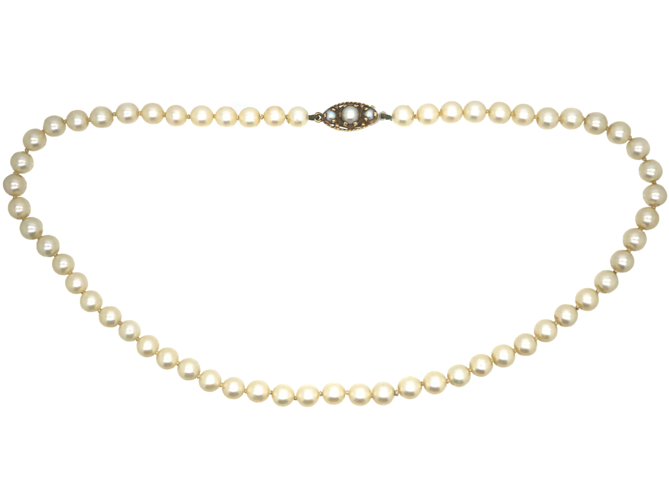 Cultured Pearl Necklace with 9ct Gold & Pearl Clasp
