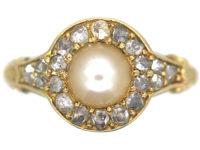 Edwardian 18ct Gold, Natural Pearl & Rose Diamond Cluster Ring