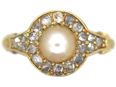 Edwardian 18ct Gold, Natural Pearl & Rose Diamond Cluster Ring