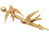 Edwardian 15ct Gold Two Swallows Brooch