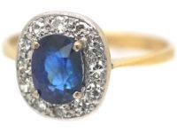 Art Deco 18ct Gold & Platinum, Sapphire & Diamond Cluster Ring