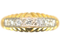 French 18ct Gold Diamond Ring with Line Pattern