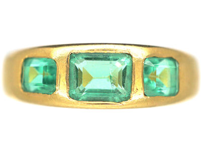 Victorian 18ct Gold, Three Stone Emerald Rub Over Set Ring