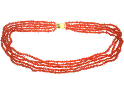 Georgian Five Row Carved Coral Necklace