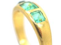 Victorian 18ct Gold, Three Stone Emerald Rub Over Set Ring