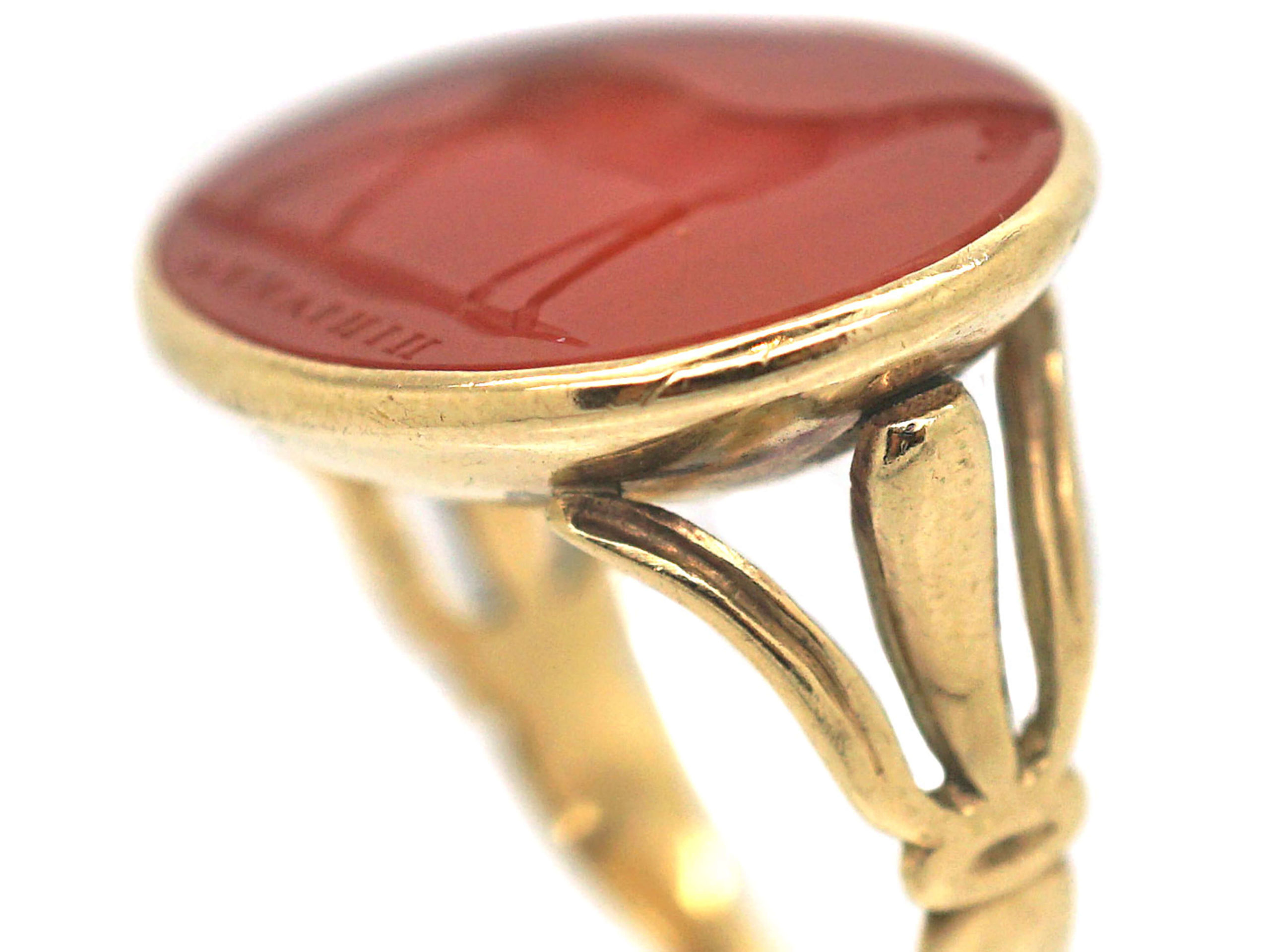 Georgian 18ct Gold & Carnelian Ring with Intaglio of Racehorse