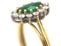 18t White & Yellow Gold Emerald & Diamond Marquise Ring