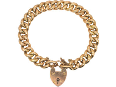 Edwardian 15ct Gold Curb Link Bracelet