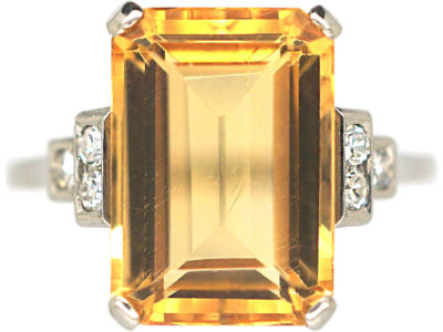 Art Deco 18ct White Gold, Imperial Topaz & Diamond Ring