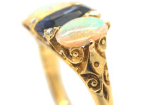 Victorian 18ct Gold Sapphire & Opal Three Stone Carved Half Hoop Ring with Rose Diamond Points