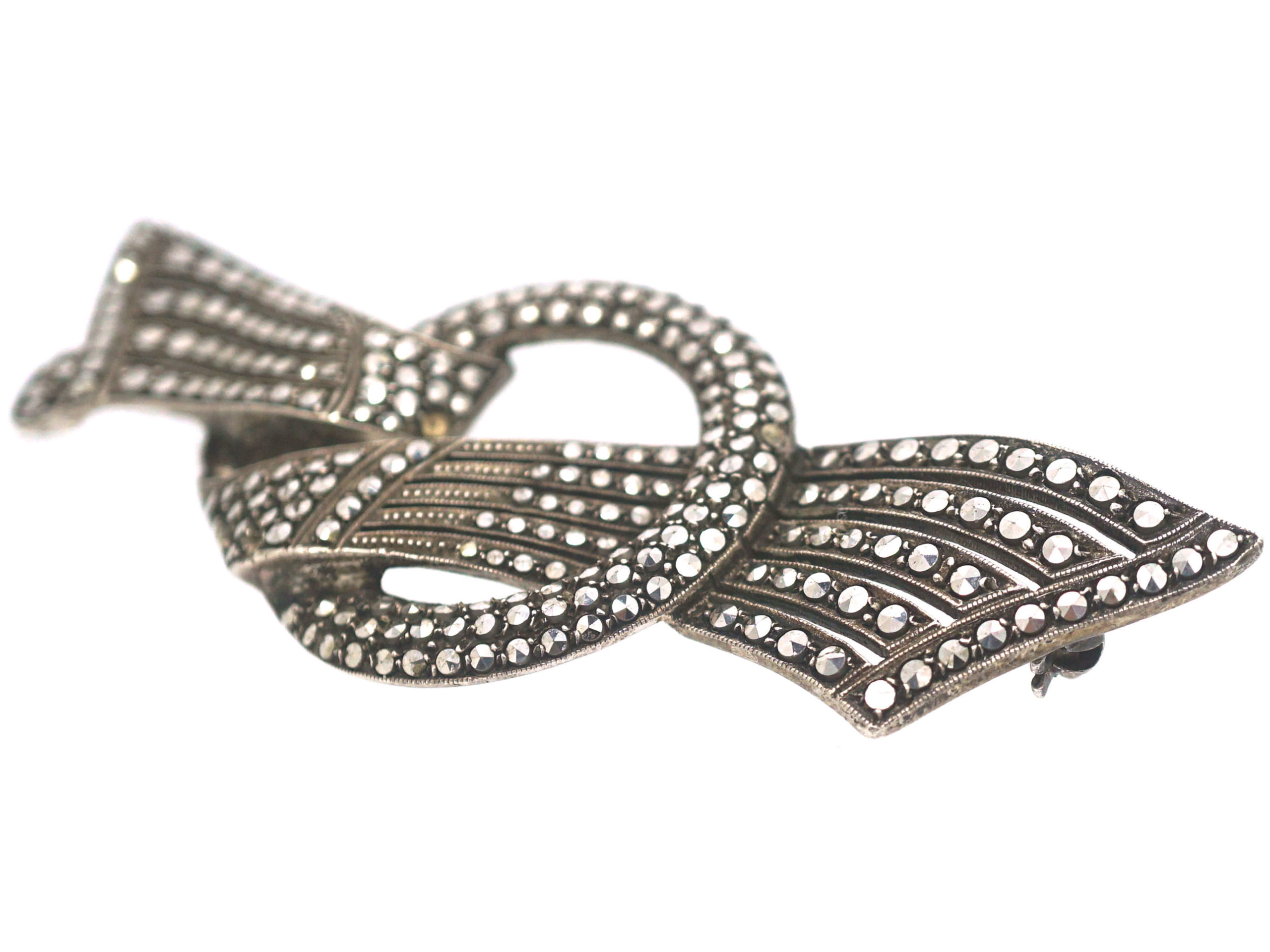 Art Deco Large Silver & Marcasite Bow Brooch