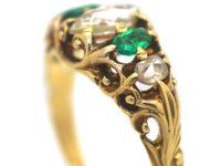Regency 18ct Gold,  Briolette Cut Diamond & Emerald Ring