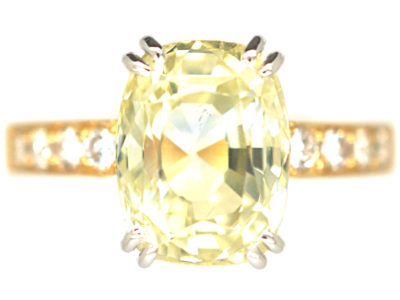 18ct Gold Yellow Ceylon Sapphire & Diamond Ring