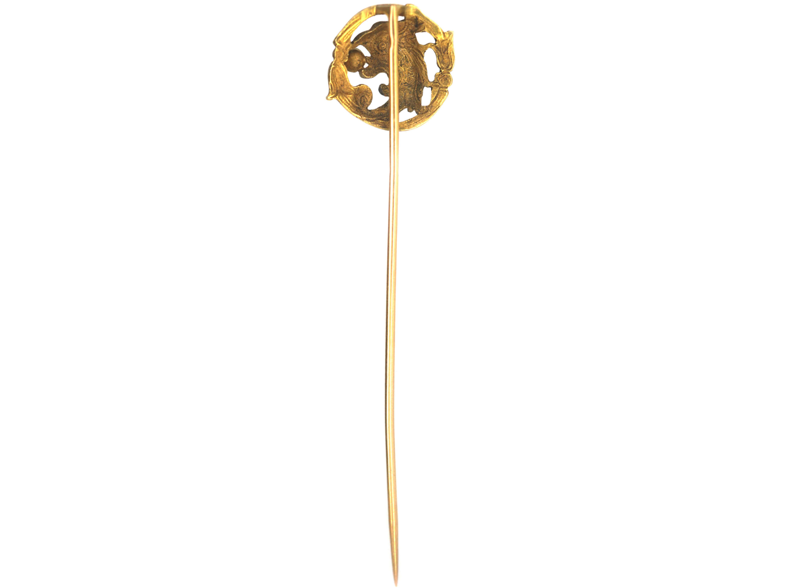French 18ct Gold Griffin Tie Pin with a Natural Pearl in its Beak