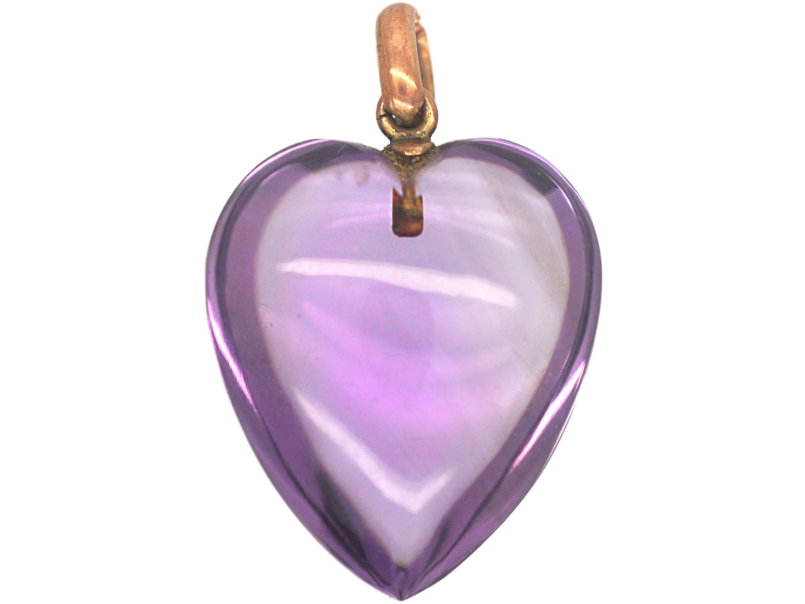 Edwardian Amethyst Heart Pendant with Gold Loop