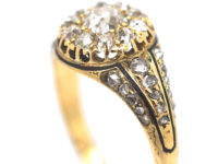 Victorian 18ct Gold & Diamond Cluster Ring with Black Enamel