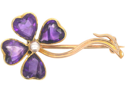 Edwardian 15ct Gold Amethyst & Natural Pearl Four Leaf Clover Brooch
