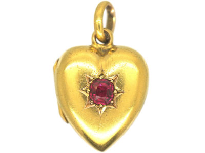 Edwardian 15ct Gold & Ruby Heart Shaped Locket