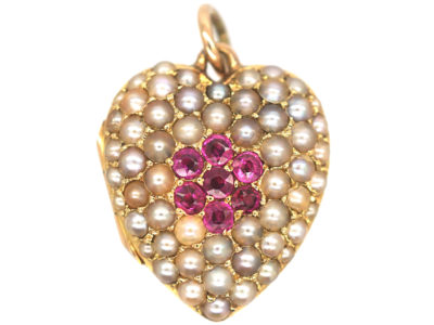 Edwardian 15ct Gold Heart Shaped Locket set with Rubies & Natural Split Pearls